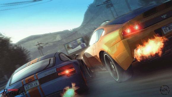 Burnout Paradise - Rennfahrt, zwei Sportwagen und NItro