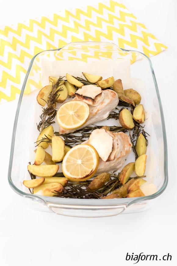 Zitronen Hähnchen mit Ziegenkäse, gesunde Ernährung, Foodblogger, Blog Schweiz, biaform
