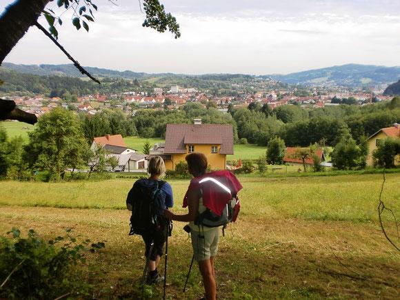 Ein Rückblick vom Knobelberg aus auf Bärnbach und Hochtregist