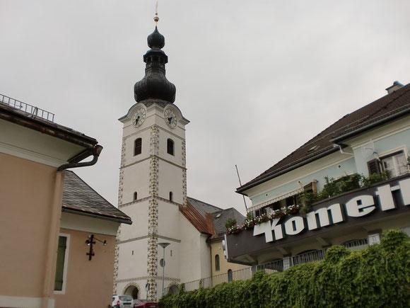 Kirche in Ferlach,leider gibt es nirgends einen Stempel für unseren Pilgerausweis