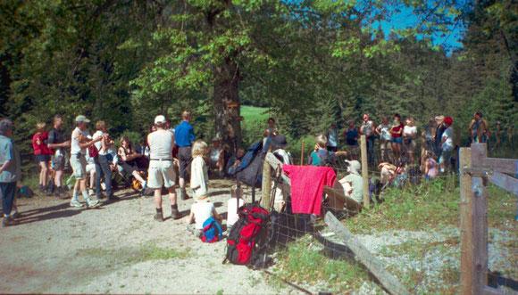 Gemeinsames Beten und Singen bei Schöneben mit den Pilgern aus Graz St. Peter 2003