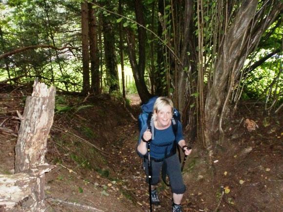 Hinaufschwitzen über einen sehr steilen Wanderweg