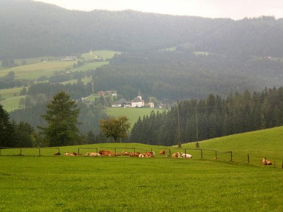 Um 14:00 gibt es vom Herzogberg aus einen ersten Blick auf Modriach