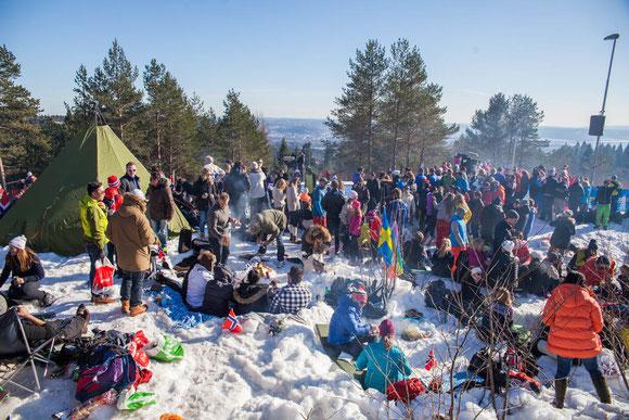 ノルウェーの応援会場は、まるで祭りのよう Photo: Asaki Abumi