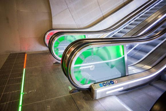 レッドピンクとグリーン部分は光の強さが変わる。子どもたちが不思議そうに眺めていた Photo: Asaki Abumi