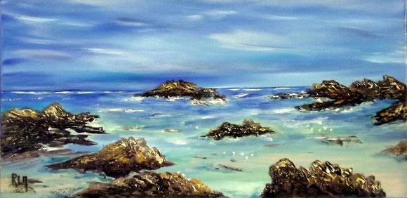 """""""Bretagne's blue"""" RLM 2012 n°35 40x20. Huile sur toile couteau par Régine Le Maout. OFFERTE"""