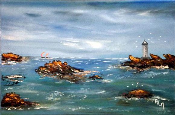 """""""Rêve breton"""" RLM 2013 n°59 H/T couteau 35x22. Par Régine Le Maout VENDUE"""