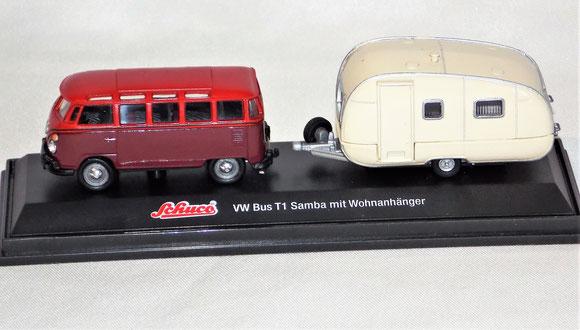 Bulli T1 Wohnwagengespann, Schuco 1:72