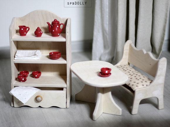 Деревянная кукольная мебель кроватки коляски стулья столы
