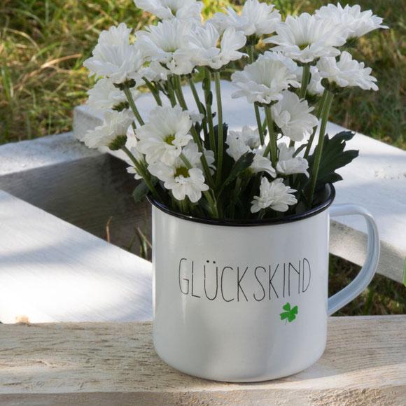 Happy Metal Mug von PPD, Motiv: Glückskind. Outdoor Geschirr - Tassen aus Metall
