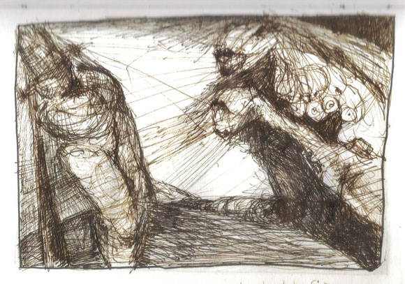 Les sirènes, plume sur papier, 2000