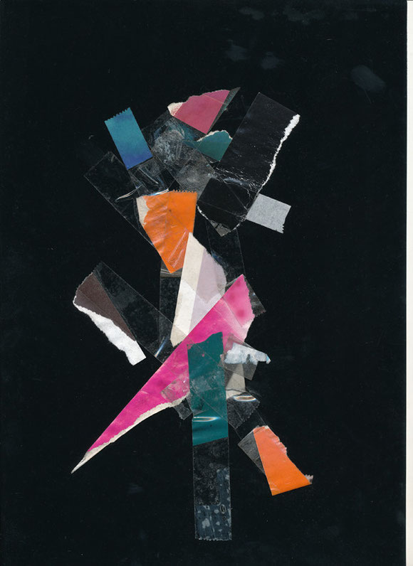 Lerchenfelderstrasse  series, collage#11, 2014, founded  taped poster rests, 29,7x21 cm