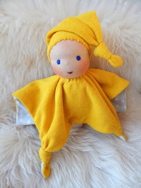 Tuchpuppe, Kuschelpuppe, erste Puppe, handgemachte Erstlingspuppe, handgefertigte Puppe, Stoffpuppe, Bio-Stoffpuppe, Bio-Kuschelpuppe, cuddle doll, cloth doll, organic cloth doll, Sternen-Puppe, Puppenhandwerk Pärsch, ökologische Kinderpuppe,  Wunschpuppe