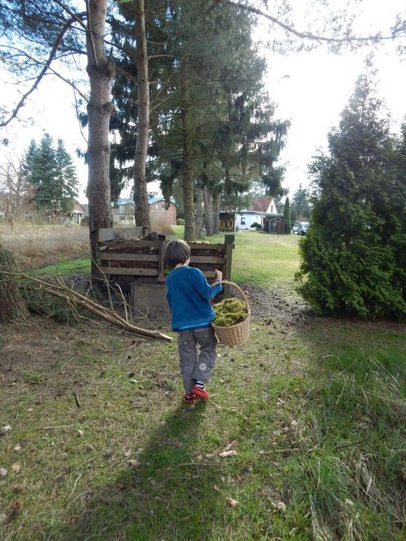 Ostern 2015, Nester aus Moos bauen, Moosnester