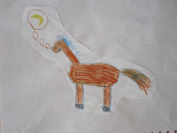 """Pferd der Familie des Freundes meines """"Größen"""", das gerne Bananen mag. ;-)"""