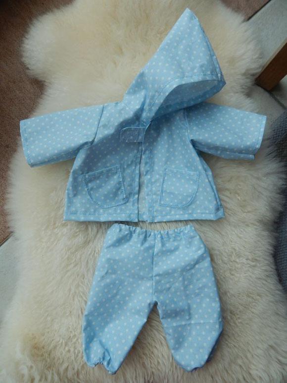 Regenset Puppe, Puppenregenmantel, Puppenregenjacke, Puppenmatschhose, Puppenregenhose