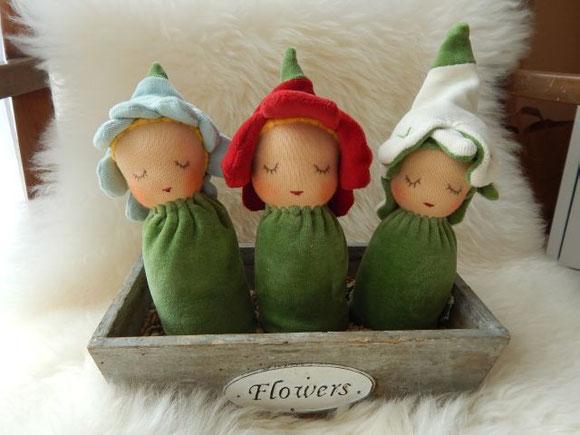 Greifling, Blütenkind, Waldorfpuppe, Erstlingspuppe, Bio, Stoffpuppe, Babypuppe, Puppenhandwerk, Pärsch