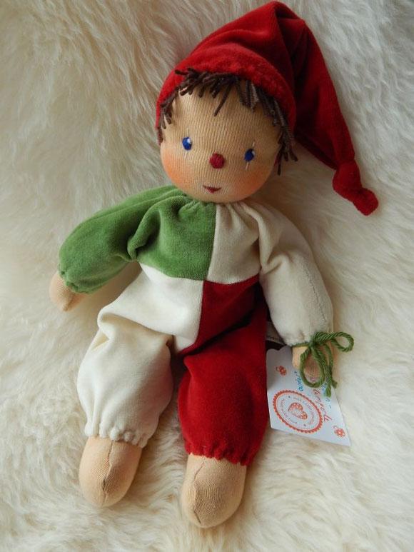 Clownpuppe, Clownschlamperle, cuddle doll, ecological, Öko, Harlekinpuppe, Dummer August, Zirkus, Fasching, Karneval, Rosenmontag