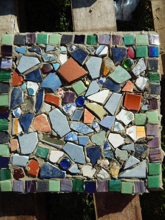 Mosaik, Scherbenmosaik, Mosaik aus Keramik- und Glasscherben, handmade mosaic