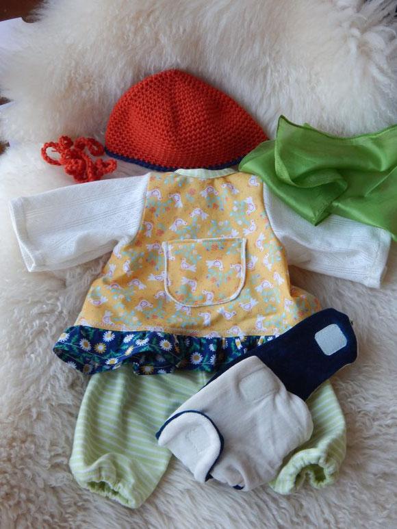 individuelle Puppenkleidung, Puppenkleiderset, Tunika-Kleid für Puppen, Puppenwindel, Puppenmütze, Kleidung für hangemachte Stoffpuppen