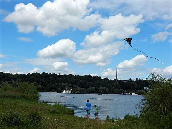 Drachensteigen an der Mündung des Tesper Hafens in die Elbe