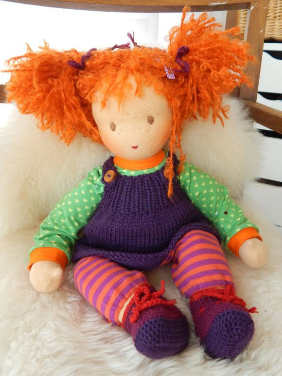Stoffpuppe, handgemacht, Waldorfpuppe, Waldorf, Steiner Puppe, Pippi, rote Haare, steiner doll, cloth doll
