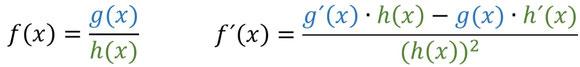 Die Formel der Quotientenregel mit farbigen Elementen.