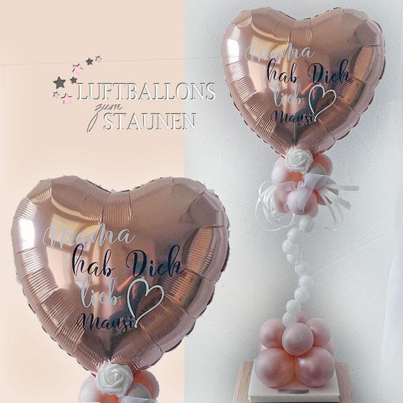 Ballon Luftballon Ständer ohne Helium Herz Mama hab dich lieb mit Name personalisiert Personalisierung Muttertag Valentinstag Rose Geschenk Mitbringsel Überraschung Paket Versand verschicken Ballonpost Ballongruß Box Text