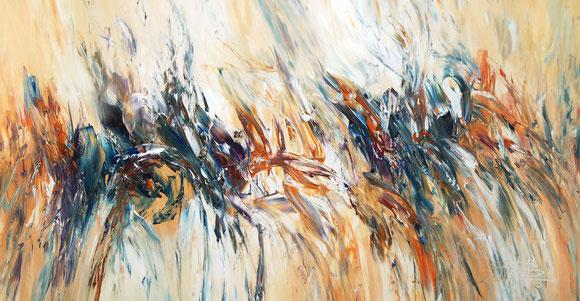 Abstraktes Acrylgemälde, braun