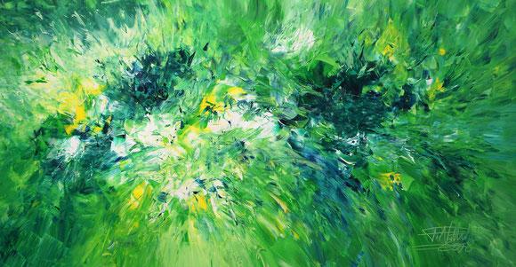 Abstraktes Acrylgemälde, grün