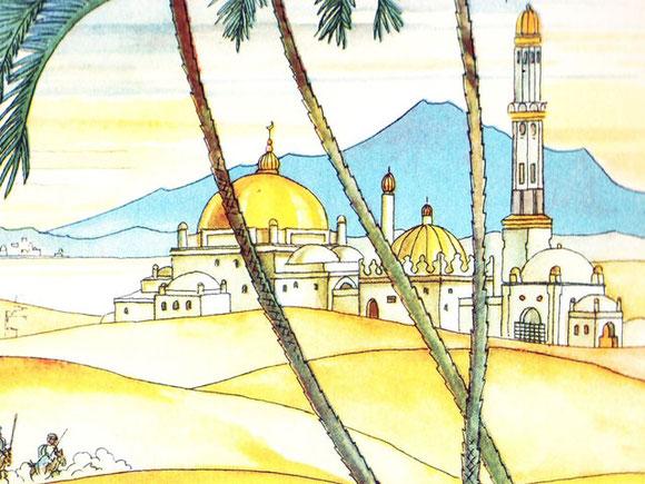 Aquarell der Paläste aus Hauffs Märchenbuch von 1939