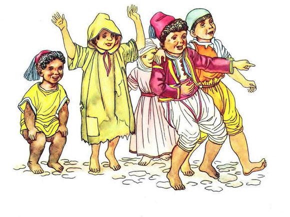 Aquarell der Kindern zu Patara aus Hauffs Märchenbuch von 1939