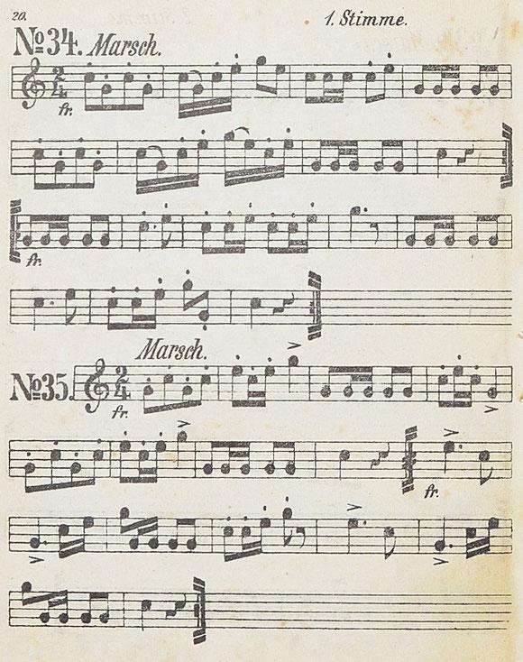 Rosner 1898: Marsch No. 34 und Marsch No. 35 (jeweils 1. Stimme). Bei Reinhold Stief sind dies die Jägermärsche Nr. 5 und Nr. 7.