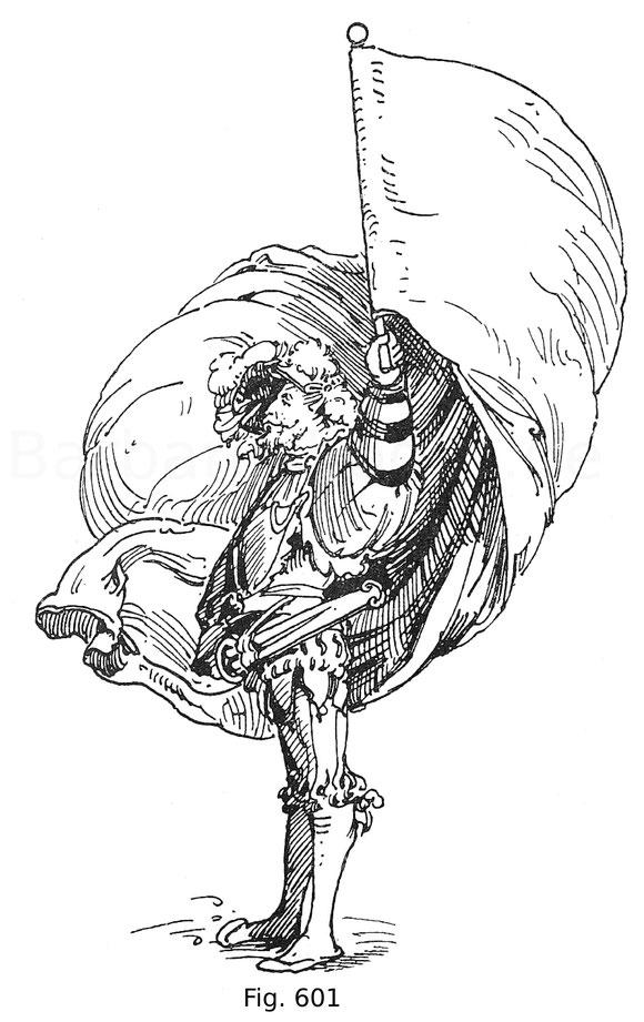 Fig. 601. Landsknecht als Fahnenträger. Nach Jac. Köbel Wappen des heil. Röm. Reichs (Bartsch IX, 157). Zweite Ausgabe des Sigm. Feyerabend 1579, Holzschnitt von ca. 1515.