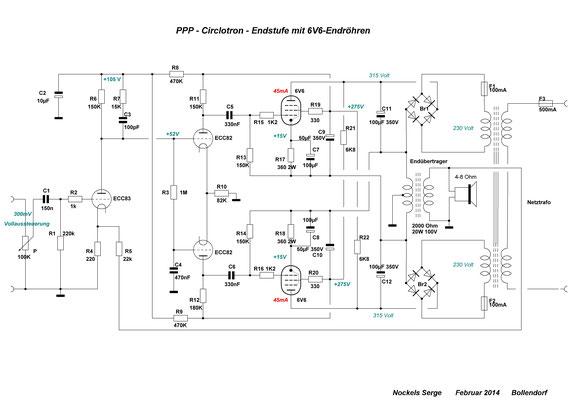 PPP-Endstufe oder Circlotron mit 6V6 oder EL84 - röhrenmusik