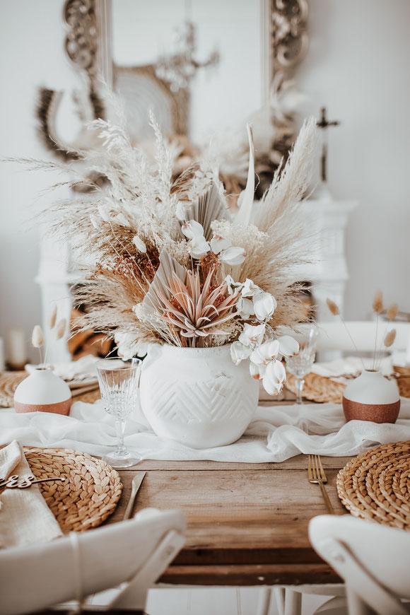 Boho Hochzeit Tischdeko Blumendeko Centerpiece