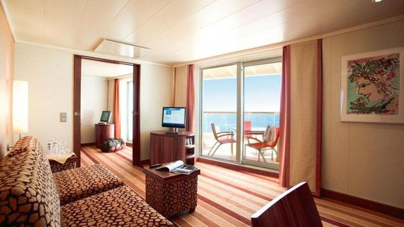 AIDAbella Premium-Suite mit privatem Sonnendeck