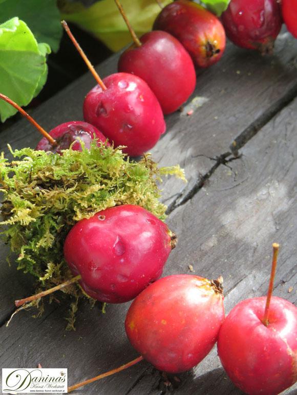 Zierapfel Kranz basteln - Bezaubernde Herbstdeko Idee