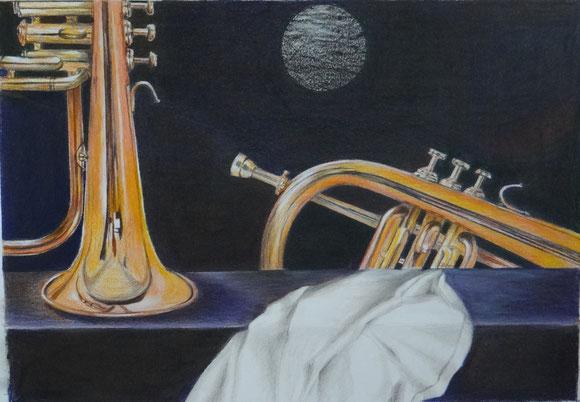 Blow your own Horn  3. 2016 Buntstift   Ölpastell   29 x  42 cm