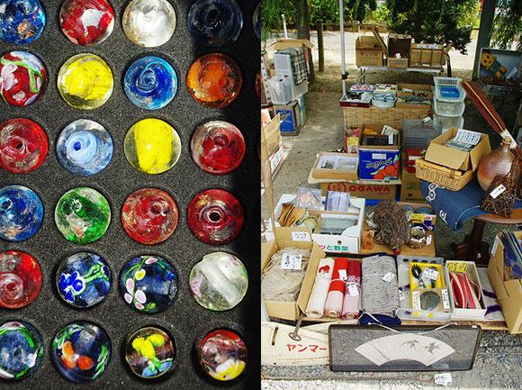 壷や皿だけではなく、着物や編みかご、農具・工具など、幅広いジャンルのものたちが集います。トンボ玉や苔玉、野菜の販売もありました