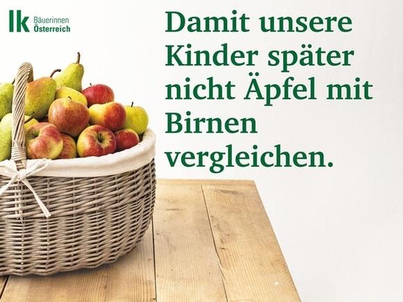 Damit unsere Kinder später nicht Äpfel mit Birnen vergleichen © ARGE Bäuerinnen