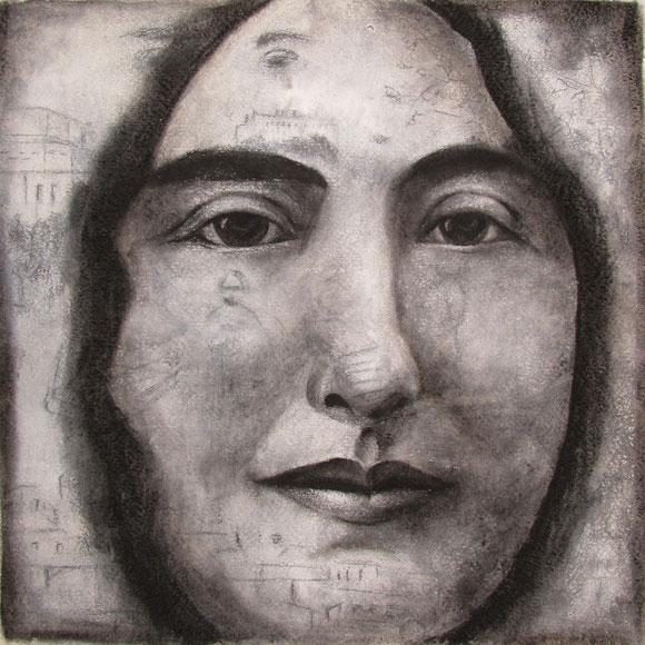 Retrato de Carmen de Burgos, 2014, grafito y carbón sobre papel, 33x33 cm.