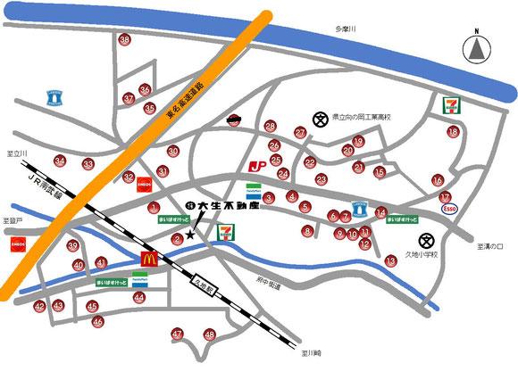 大生不動産管理駐車場マップ
