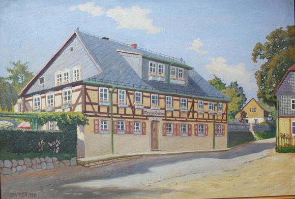 Meschkes Gasthaus, Hohnstein (Sächsische Schweiz) auf einem Ölgemälde von Bammes, 1958