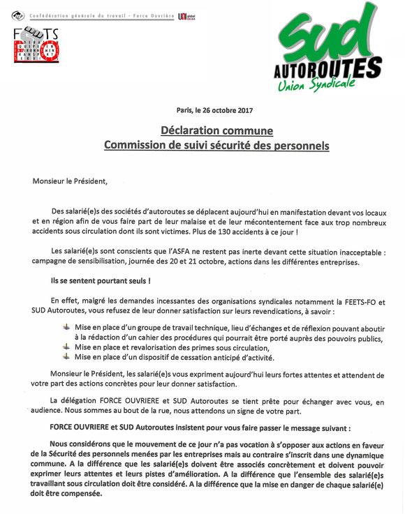 ASFA déclaration commune FO-Syndicat SUD Autoroutes