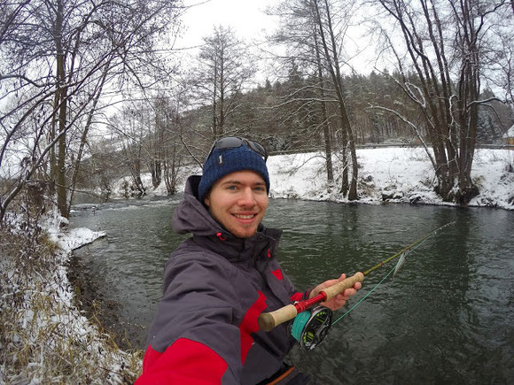 Pike fishing in winter with tube flies on a flyrod
