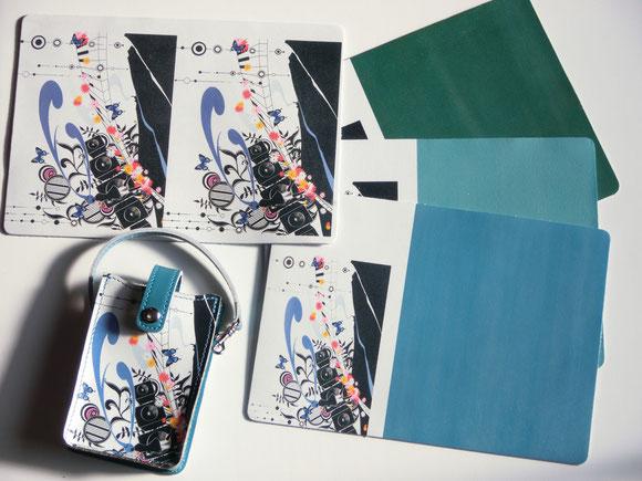 クロム鞣し革白に画像素材と付属同時プリント