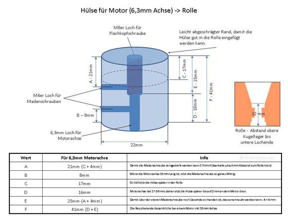 Motorkupplung/Hülse für 6,3mm / 18mm Motorachse.