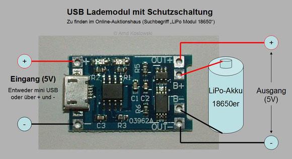 USB-Lademodul mit Schutzschaltung