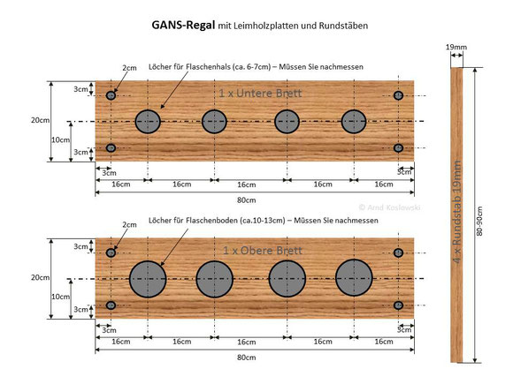 GANS-Rundstabregal Bauteile